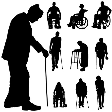 Vector silhouette of disabled people on a white background.  Çizim