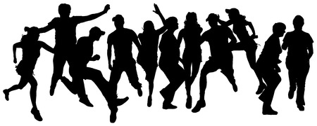 Vector silhouette of a people who runs a white background. Vector