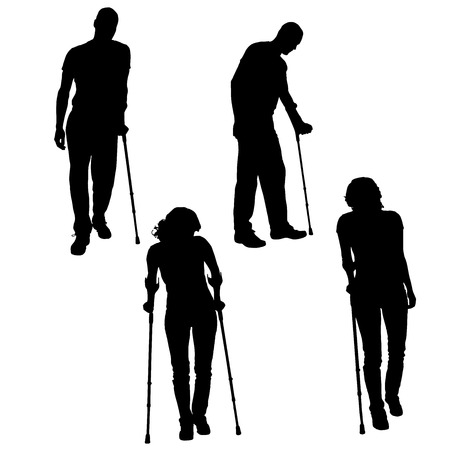 accident woman: Vector silhouette of people on crutches on white .