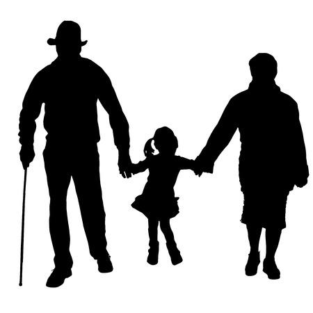Vektorové silueta starých lidí s dítětem na bílém pozadí.