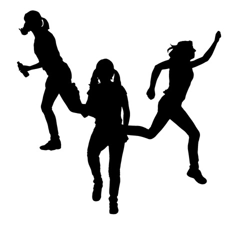 Vector silhouette of a woman who runs a white background. Vector