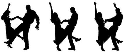 pareja bailando: Vector silueta de las personas que bailan en un blanco. Vectores