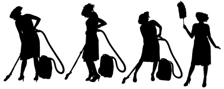 duster: Vector silhouette of a cleaning lady on a white .