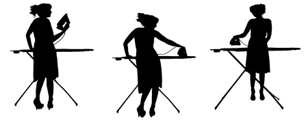 Vector silhouette of a cleaning lady on a white .  Vector