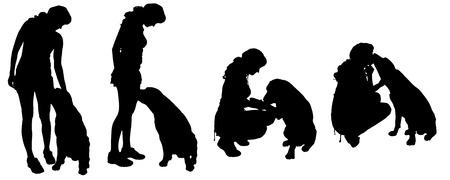 Vector silhouette of a woman with a dog on a white background.