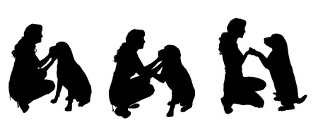 females: Vector silhouette of a woman with a dog on a white background.