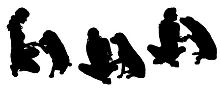 Vector silhouette of a woman with a dog on a white background.  Vector