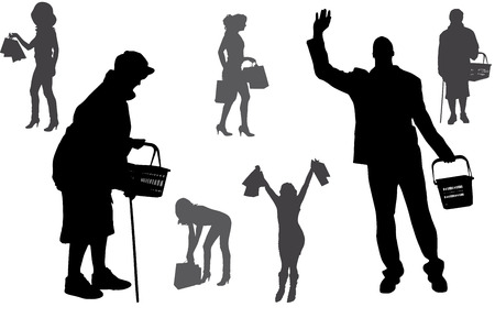 Vector silhouette of a people who buys on a white background. Vector