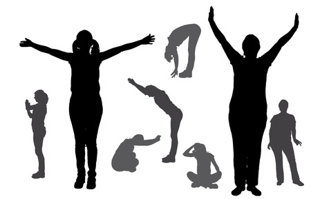 Vector silhouette of a woman who exercises on a white background. Vector