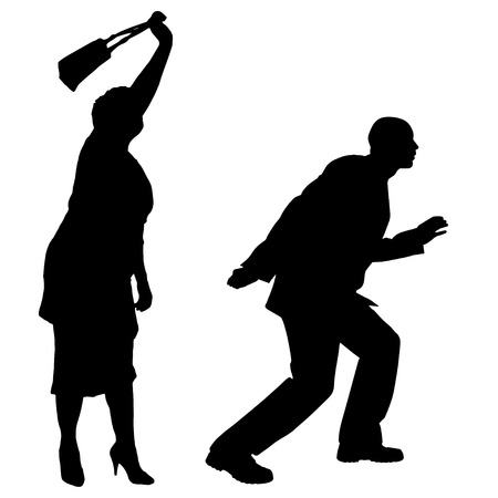 old couple walking: Vector silhouette of people on a white background.