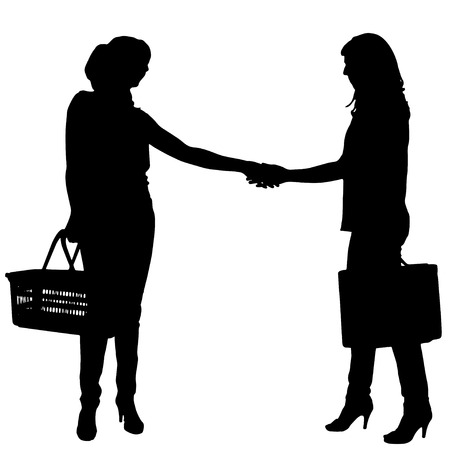 Vector silhouette of businesswoman with a handbag on a white background. Vector