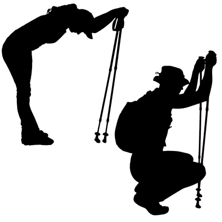 couple hiking: Vector silhouettes of people with walking bare on a white background.