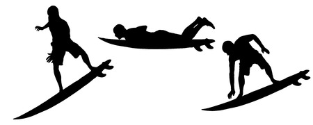 surfers: Vector silhouette of a man who surfs.