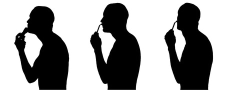 Vector silhouette of man in different situations.