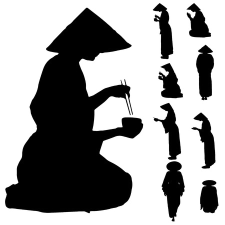 Vector silhouette of Chinese on white background. Stock Vector - 26424778
