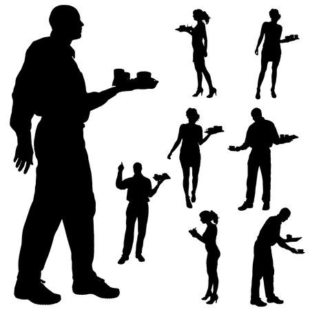 Vektor-Kellner-Silhouette auf weißem Hintergrund. Standard-Bild - 26424800