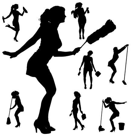 black woman: Vector silhouette of a cleaning lady on a white background.