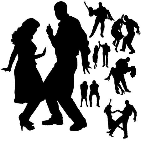 bailarines silueta: Vector silueta de la gente que baila en un fondo blanco.