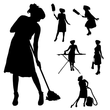 cleaning background: Vector silhouette of a cleaning lady on a white background.