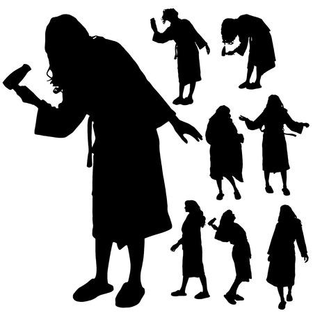 bathrobe: Vector silhouette of a woman in a bathrobe on a white background.