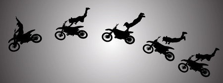 Vector silhouette of a man in motocross.  Vector