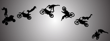 Vector silhouette of a man in motocross.  Vector