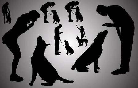Vector silhouette of a people with a dog. Vektorové ilustrace
