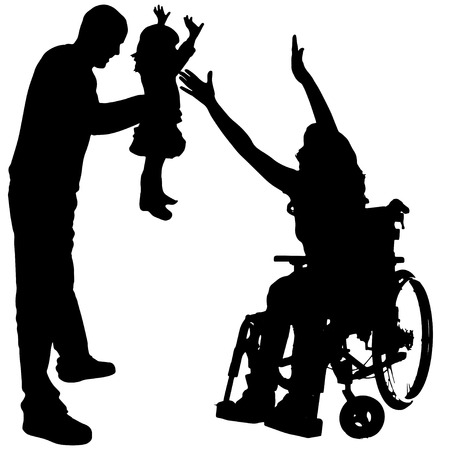 doughter: Vector silhouettes of people in a wheelchair on a white background.