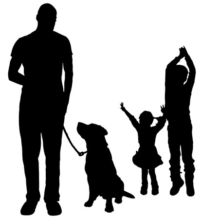 dogs playing: Vector silhouette of a family with a dog for a walk.