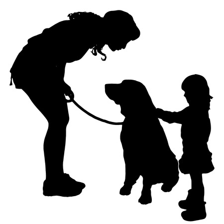 Vector silhouette of a family with a dog for a walk.