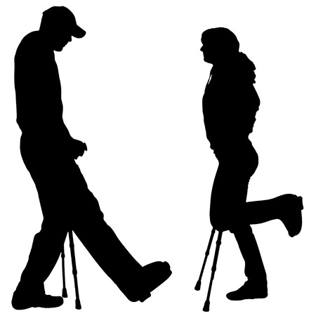 Vector silhouettes of people with cruth on a white background.  Vector