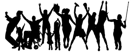 Vector silhouette of people who rejoice on a white background.  Vector