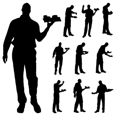waiter tray: Vector waiter silhouette on a white background.