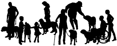 dog walker: Vector silhouette of people with a dog on a white background.