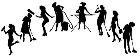 dienstverlening: Vector silhouet van een schoonmaakster op een witte achtergrond. Stock Illustratie