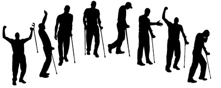 Vector silhouette of people on crutches on white background.  Vector