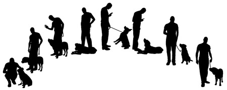 Vector silhouette of a man with a dog on a walk. Vector