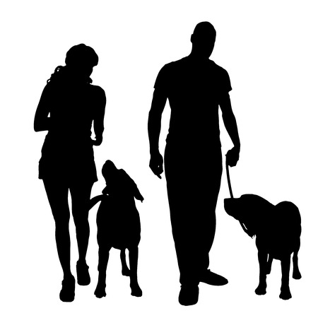 dog leashes: Vector silhouette of a people with a dog.
