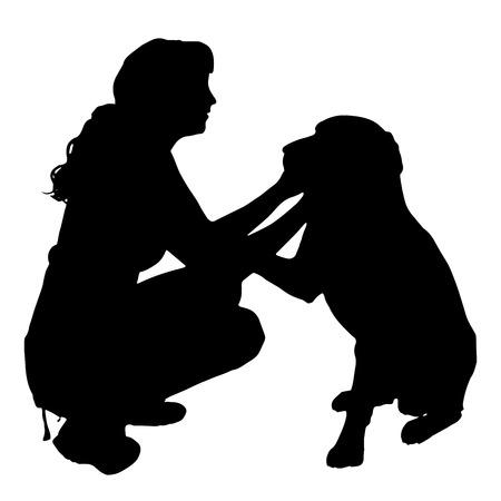 Vector silueta de una mujer con un perro. Vectores
