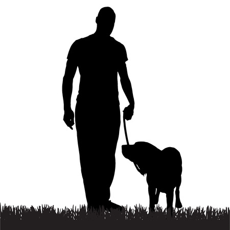 Vector silhouette of a man with a dog on a walk.