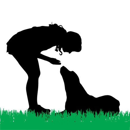 Vector silhouette of a woman with a dog on a walk. Vector