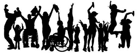 rejoice: Vector silhouette of people who rejoice on a white background.