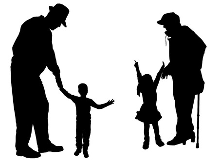 old man: Vector silhouette of family on white background.