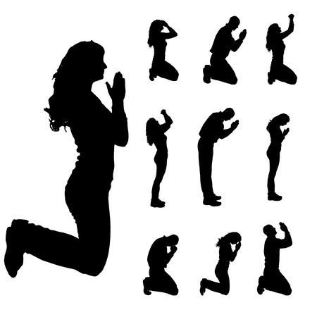 fille triste: Vector silhouette de gens qui prient sur un fond blanc.