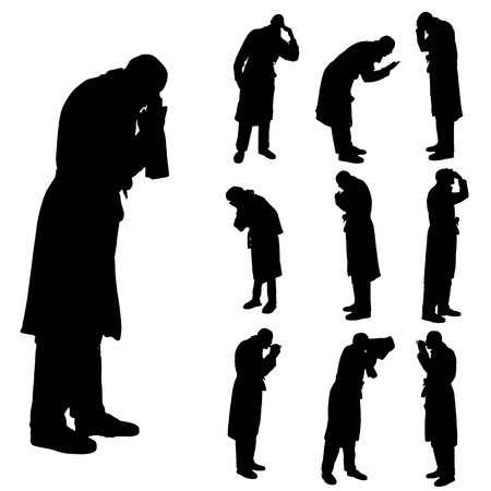 Vector silhouette of a people in a bathrobe on a white background.  Illustration