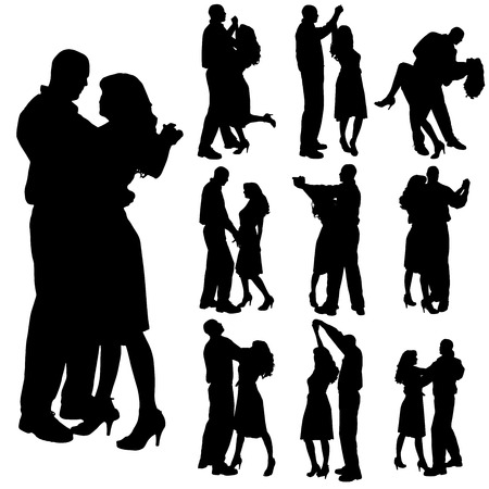 dancing couple: Vector silhouette of people who dance on a white background.  Illustration