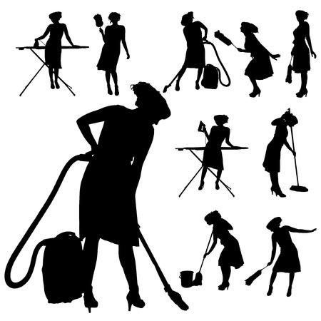 白い背景の上のクリーニング女性のベクトル シルエット。