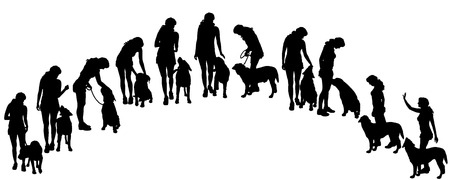 dog leash: Vector silhouette of a woman with a dog.