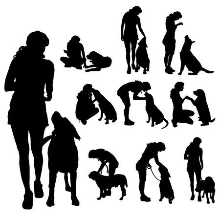 犬を持つ女性のベクトル シルエット。