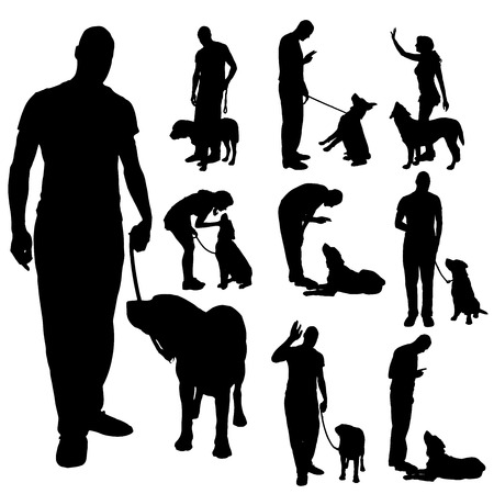 obedience: Vector silhouette of a people with a dog.